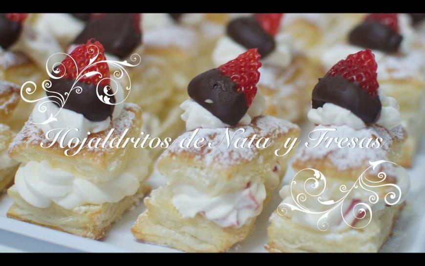 Hojaldres de nata con fresas