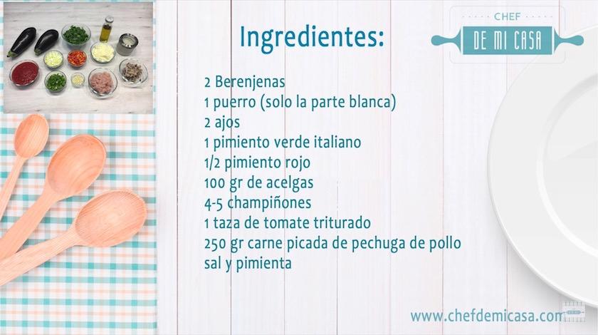 Ingredientes para Berenjenas Rellenas