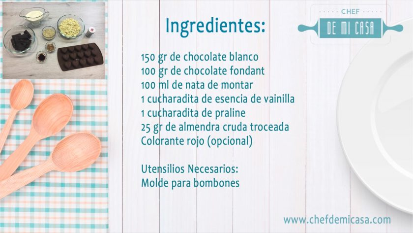 Ingredientes para Bombones de Chocolate Caseros