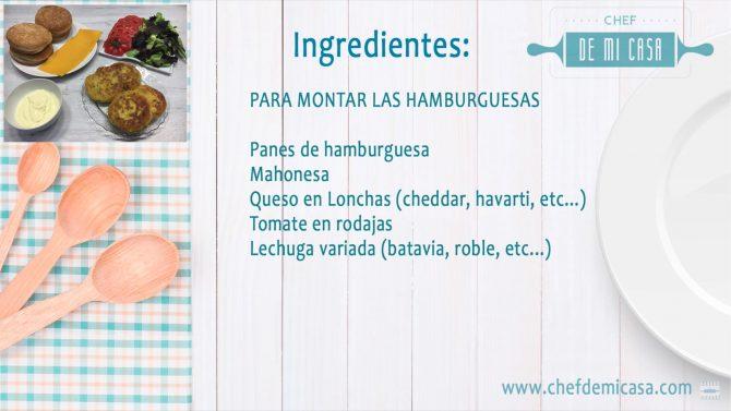 Ingredientes para montar hamburguesas de pescado