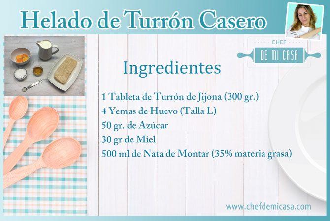Ingredientes para Helado de Turron Casero