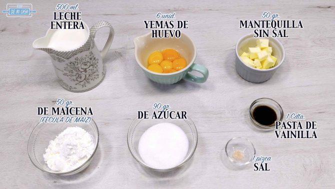 Ingredientes Receta Crema Pastelera perfecta