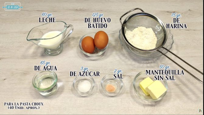 Ingredientes pasta choux para buñuelos
