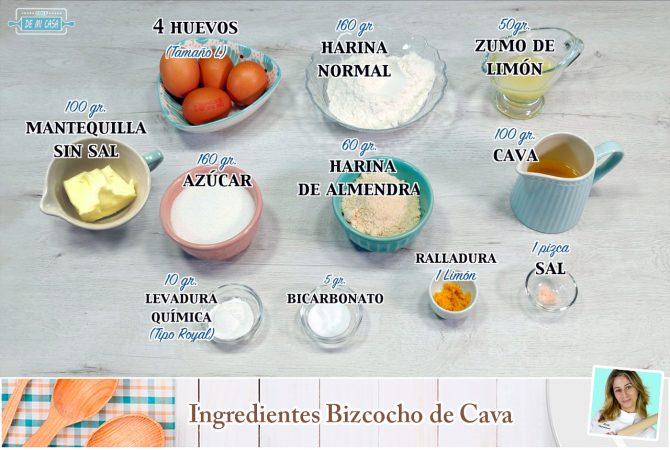 Ingredientes Bizcocho de Cava