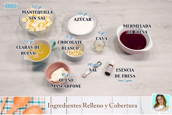 Ingredientes Relleno y Cobertura