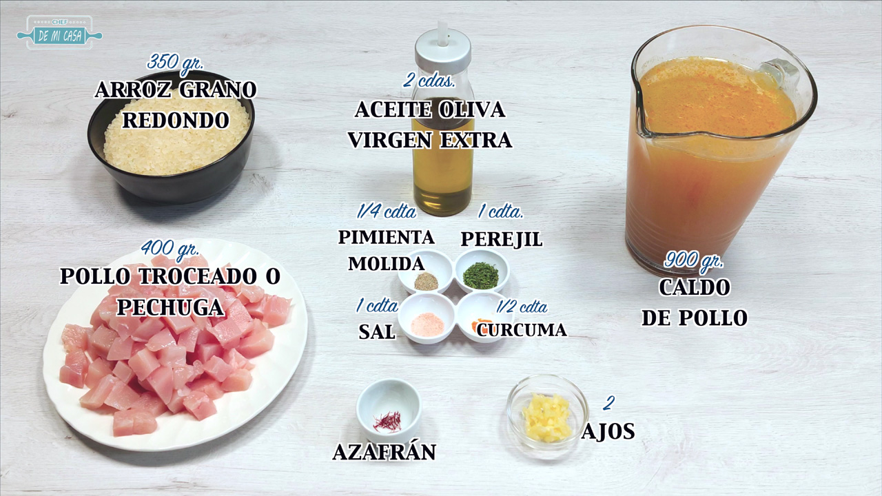 Ingredientes Arroz con Pollo