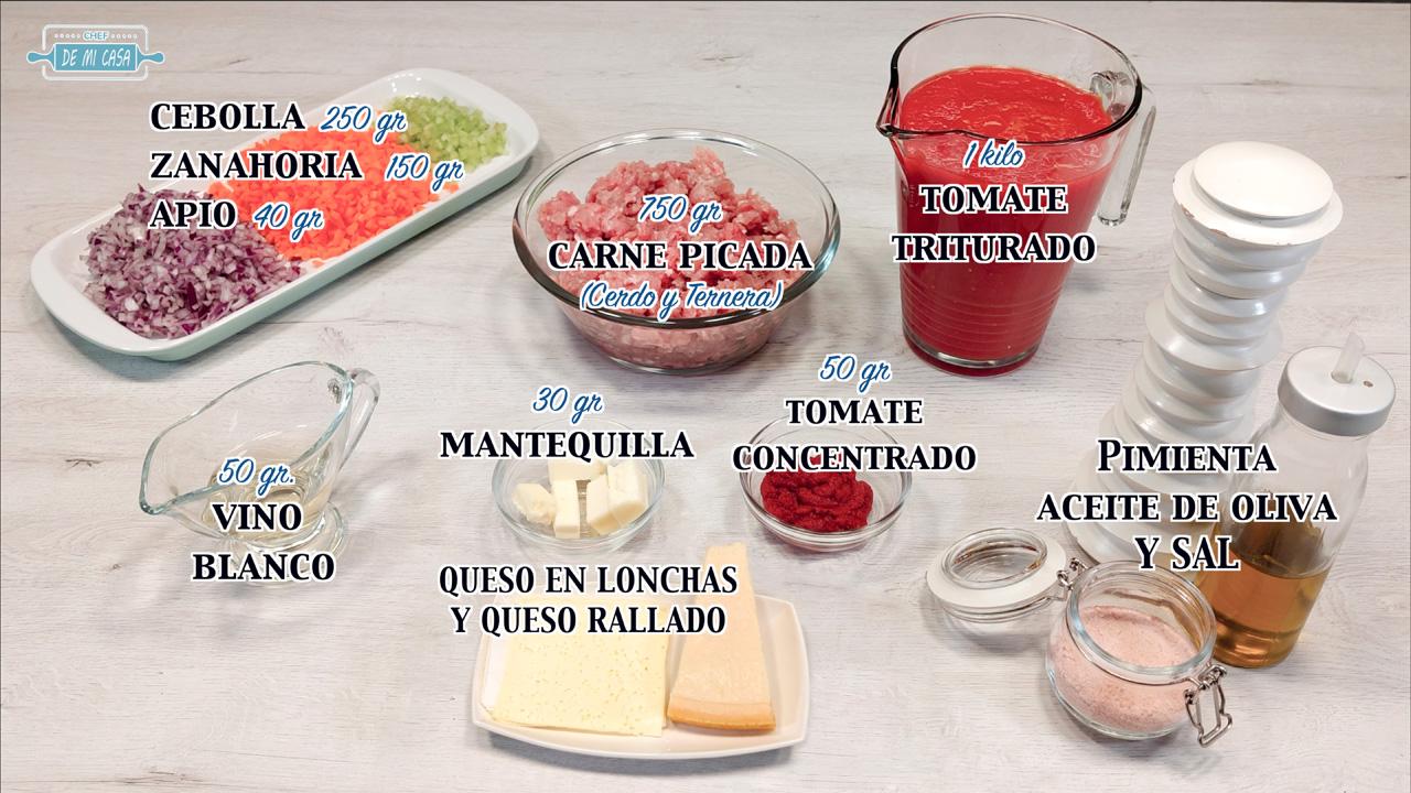 Ingredientes Lasaña de carne