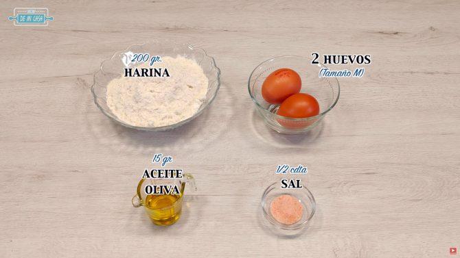 Ingredientes Pasta Fresca Casera
