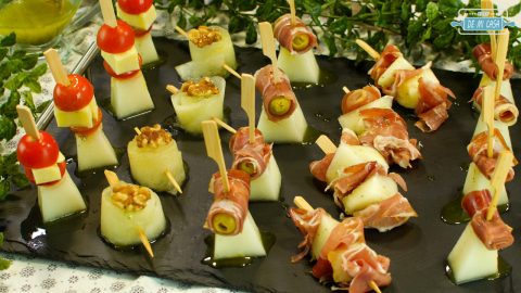 Canapes de Melon con Jamon