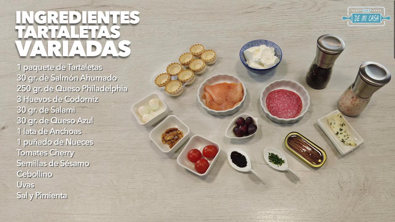 Ingredientes TARTALETAS Saladas Variadas