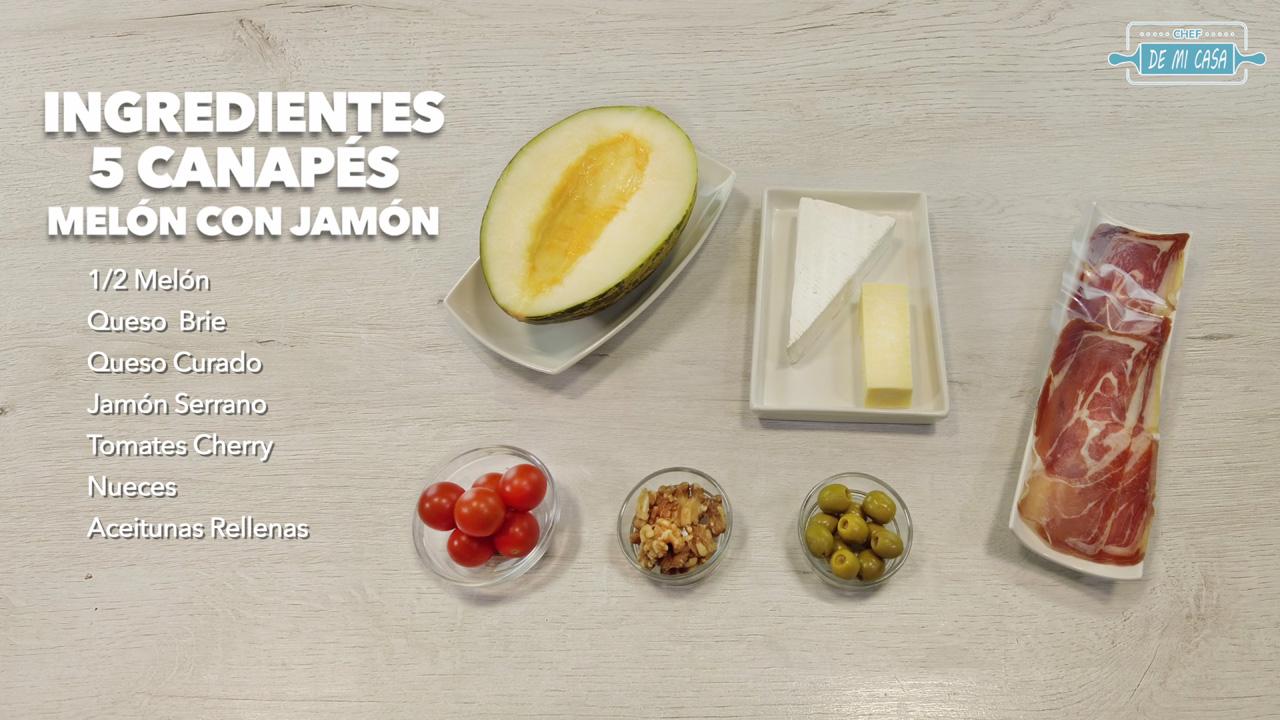 ingredientes canapés de melón