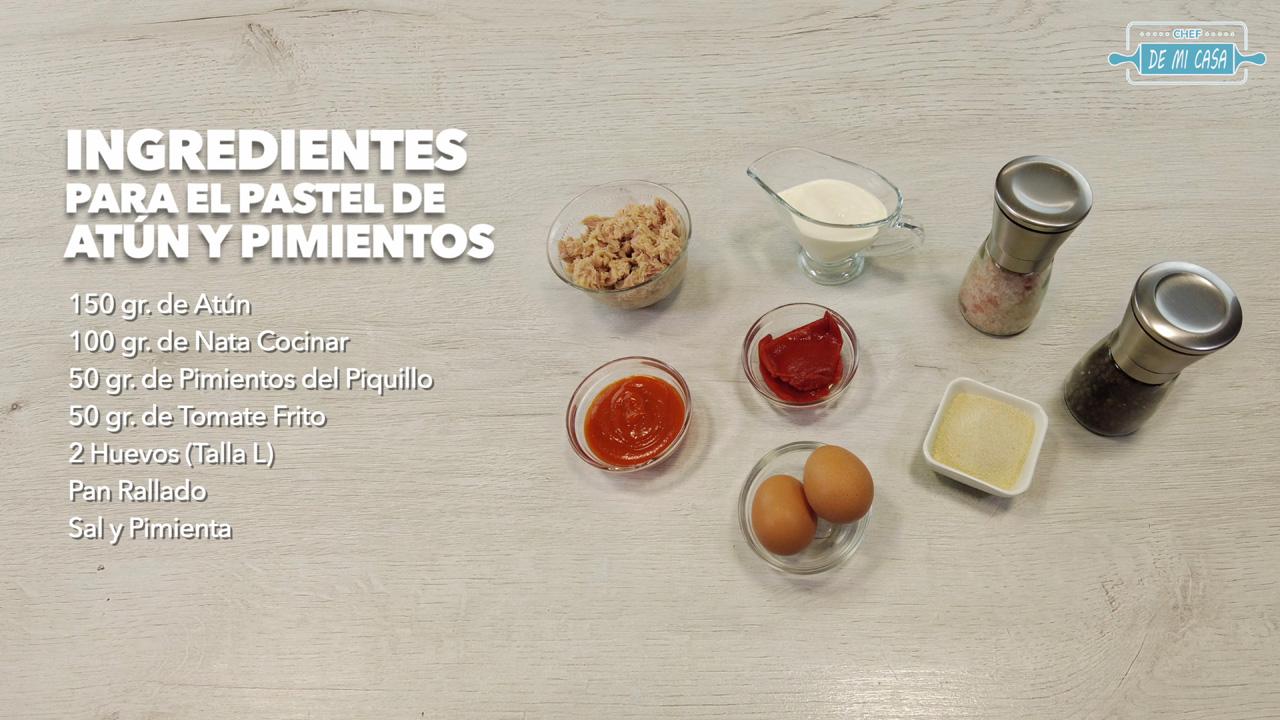 ingredientes pastel de atun y pimientos
